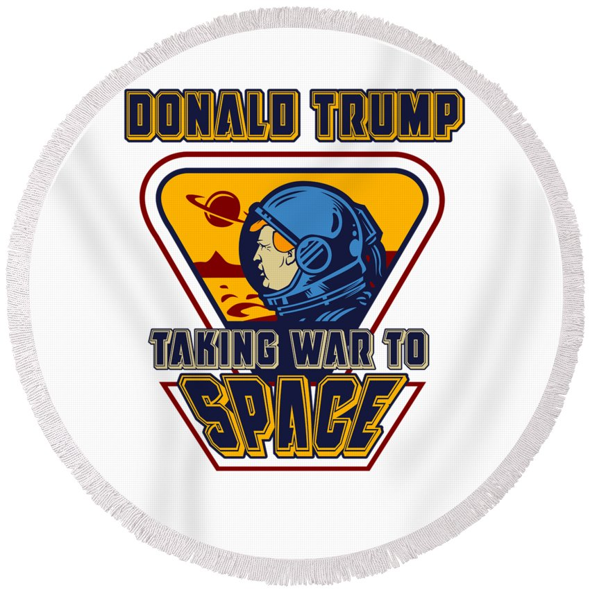 Space-force Round Beach Towel featuring the digital art Us Space Force Sarcastic Antitrump Novelty Gift Light by Nikita Goel