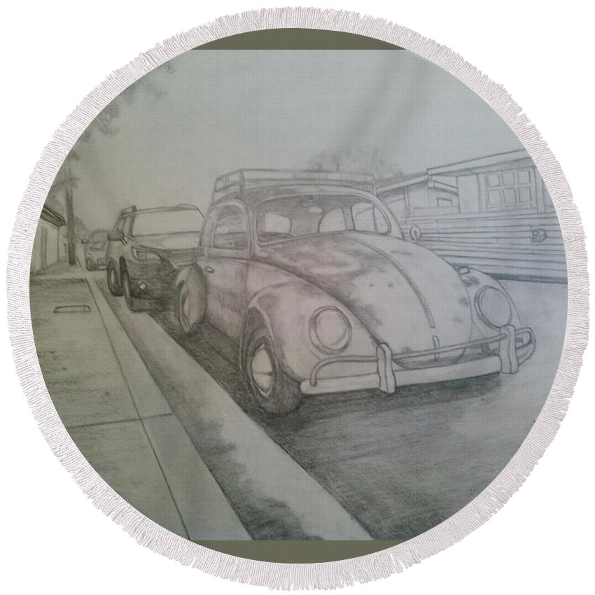 Drawing Of Vw Round Beach Towel featuring the drawing Vdub by Andrew Johnson