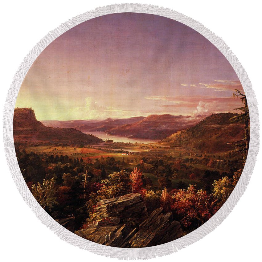 View Of Greenwood Lake Round Beach Towel featuring the painting View Of Greenwood Lake, New Jersey by Jasper Francis Cropsey