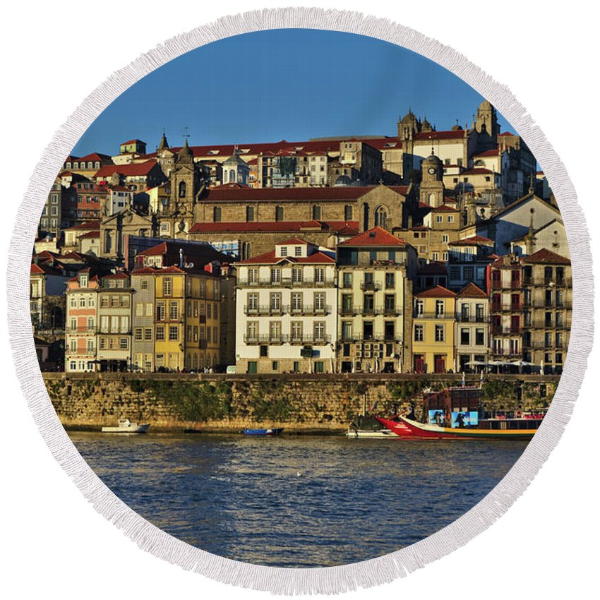 Porto Round Beach Towel featuring the photograph View Of Porto And Douro River by Angelo DeVal