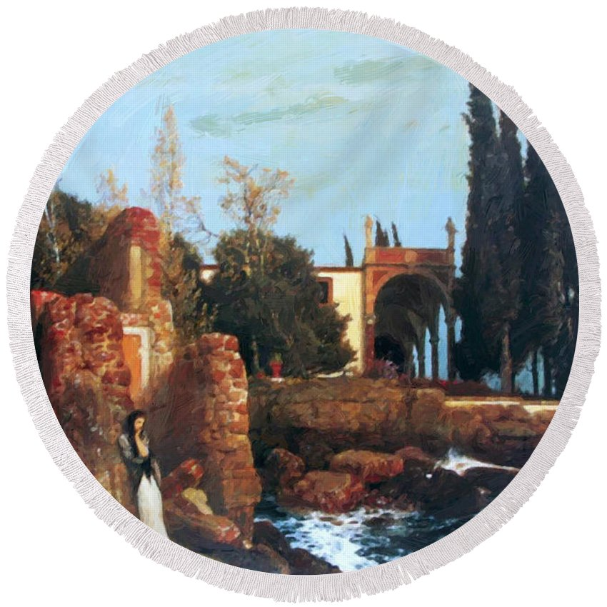 Villa Round Beach Towel featuring the painting Villa By The Sea 1878 by Bocklin Arnold