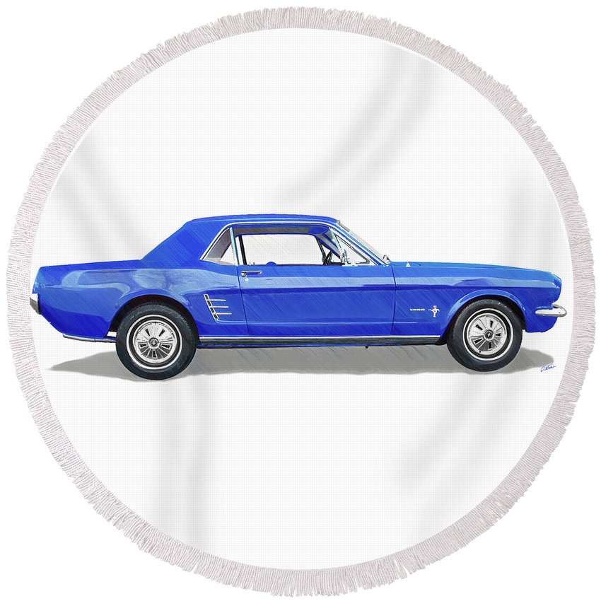 Automobile Round Beach Towel featuring the drawing Vintage Ford Mustang - Dwp3864868 by Dean Wittle