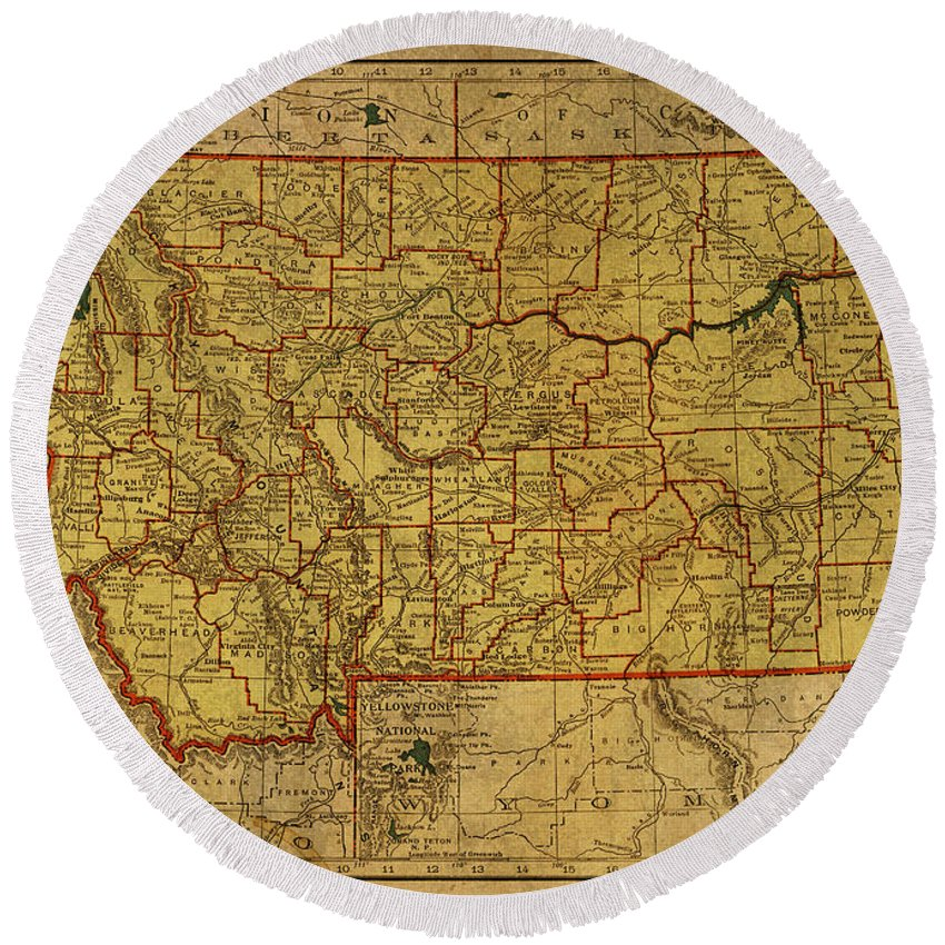 Vintage Round Beach Towel featuring the mixed media Vintage Map Of Montana by Design Turnpike