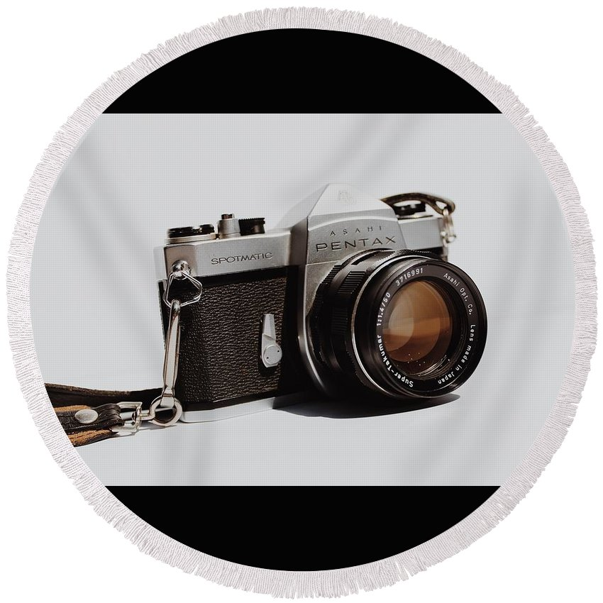 Vintage Camera Photographs Round Beach Towels