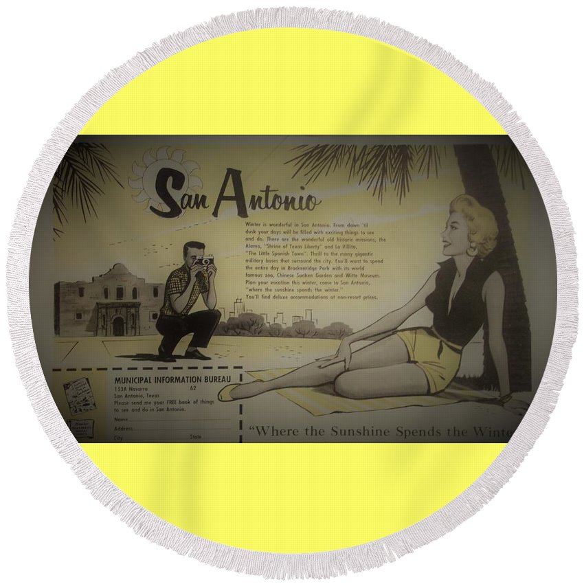 Advertisement Round Beach Towel featuring the photograph Vintage San Antonio Advertisement by Mary Beth Welch