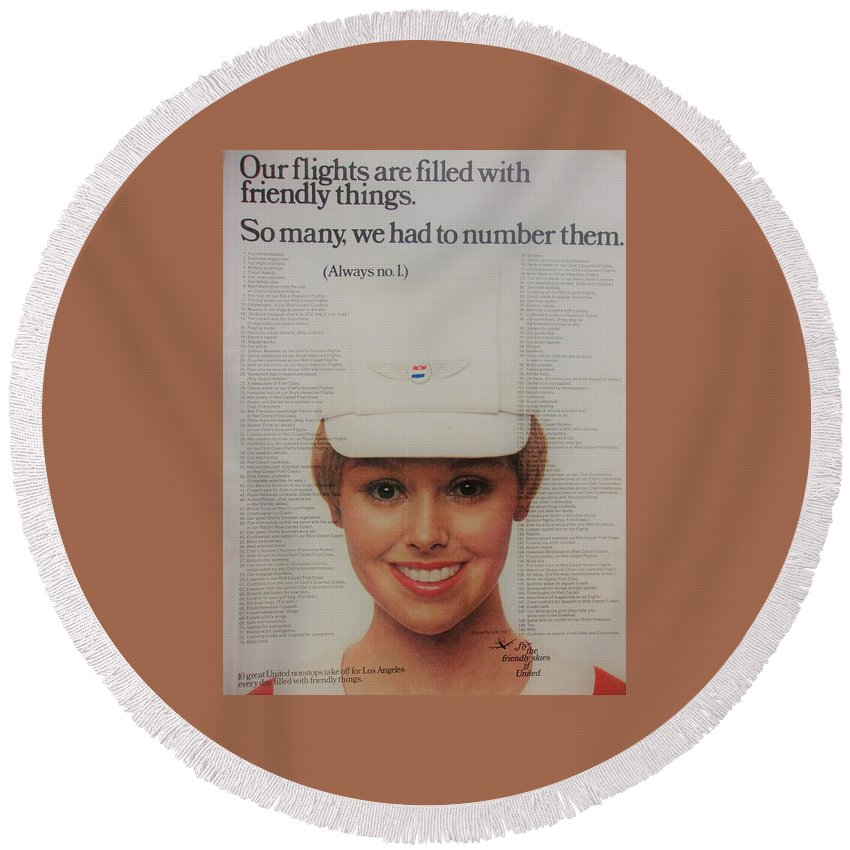 Vintage Round Beach Towel featuring the photograph Vintage United Airlines Ad by Mary Beth Welch