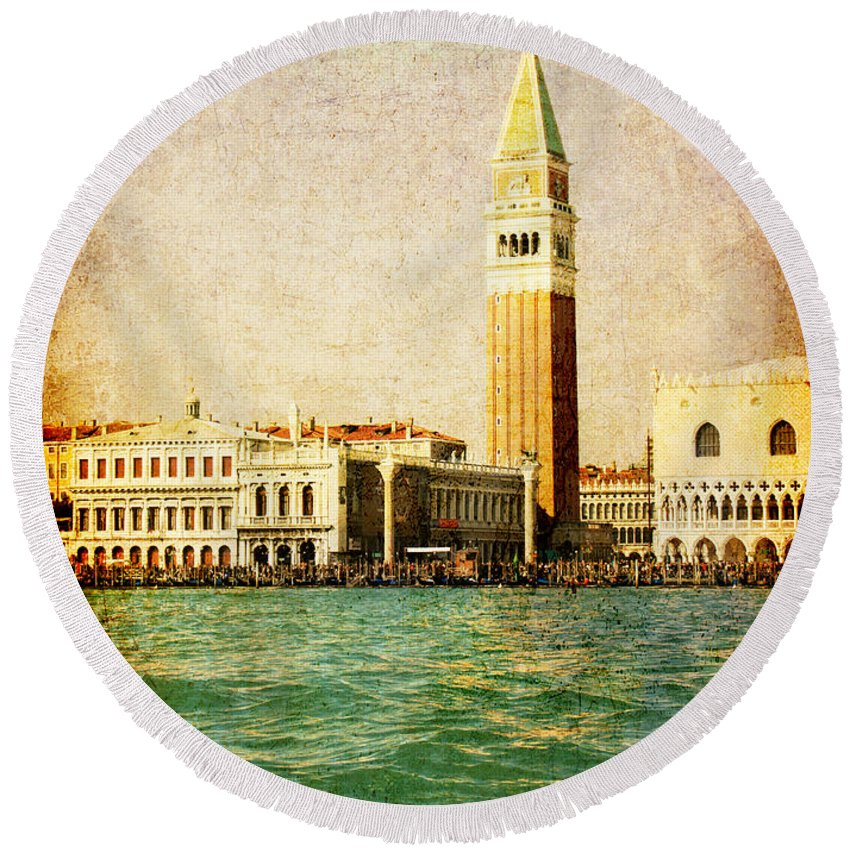 Antique Round Beach Towel featuring the digital art Vintage Venice, S.marco Square From The Sea by Luisa Vallon Fumi