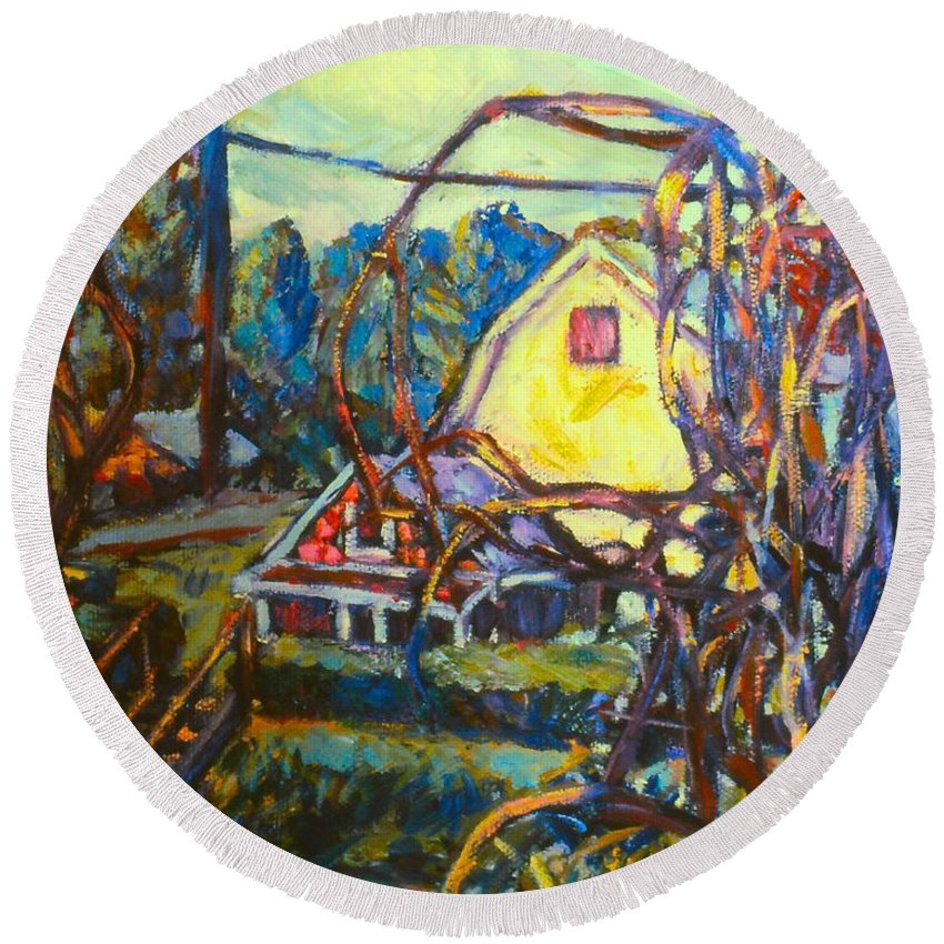 Houses Round Beach Towel featuring the painting Wadsworth Avenue Again by Kendall Kessler