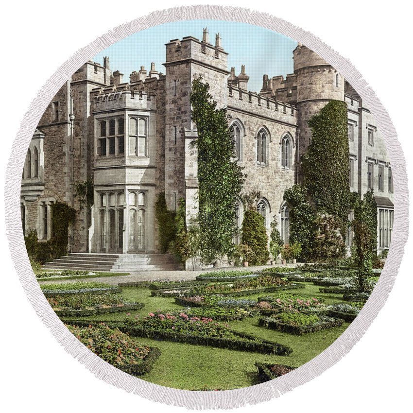 B1019 Round Beach Towel featuring the photograph The New Hawarden Castle, C1900 by Granger
