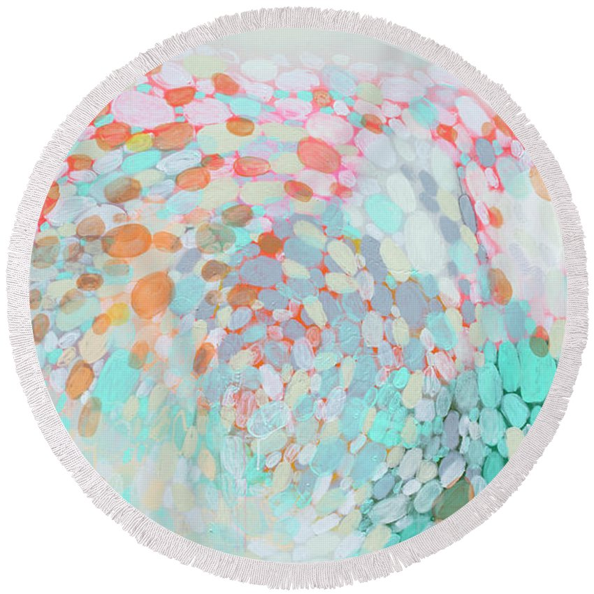 Abstract Round Beach Towel featuring the painting Want To Go by Claire Desjardins