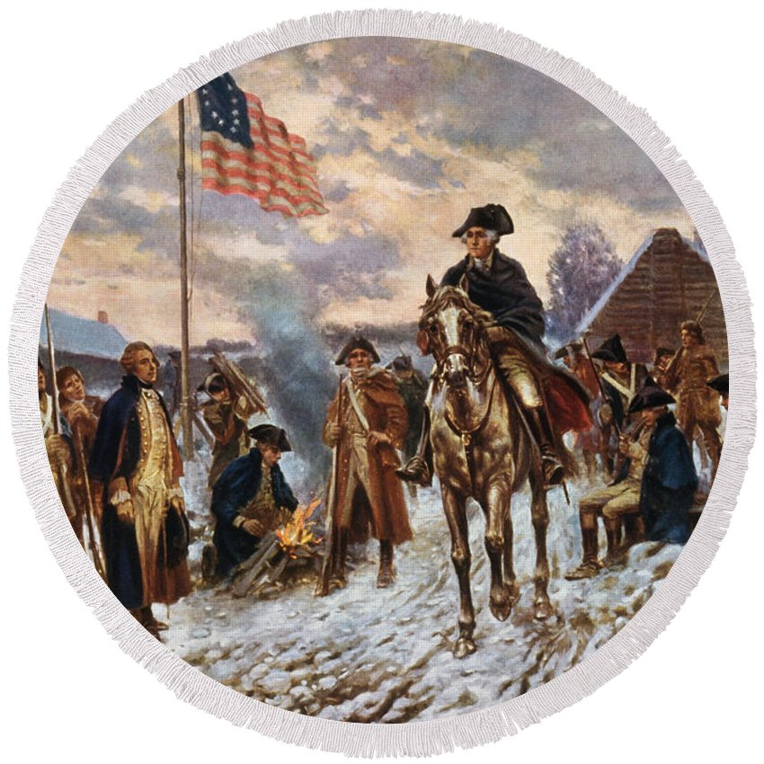 George Washington Round Beach Towel featuring the painting Washington At Valley Forge by War Is Hell Store