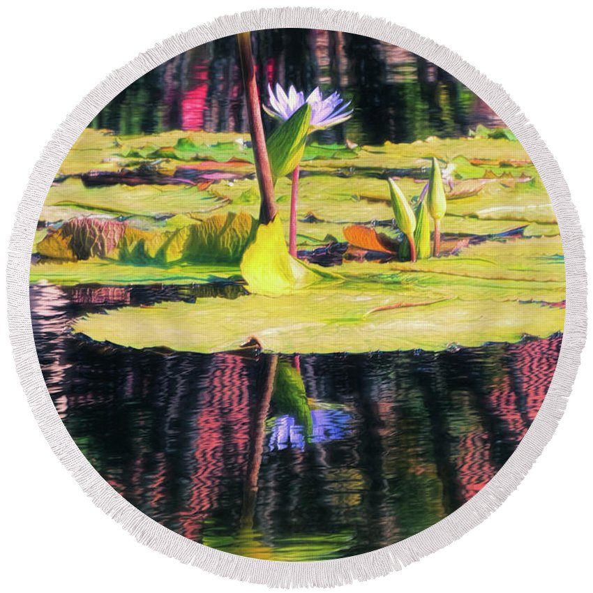 California Round Beach Towel featuring the photograph Water Lily 12 by Claude LeTien