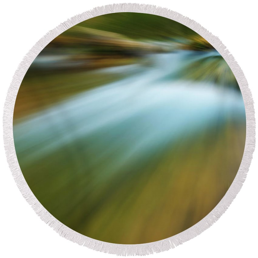 Photography Round Beach Towel featuring the photograph Waterfall Abstract by Vicente Sargues