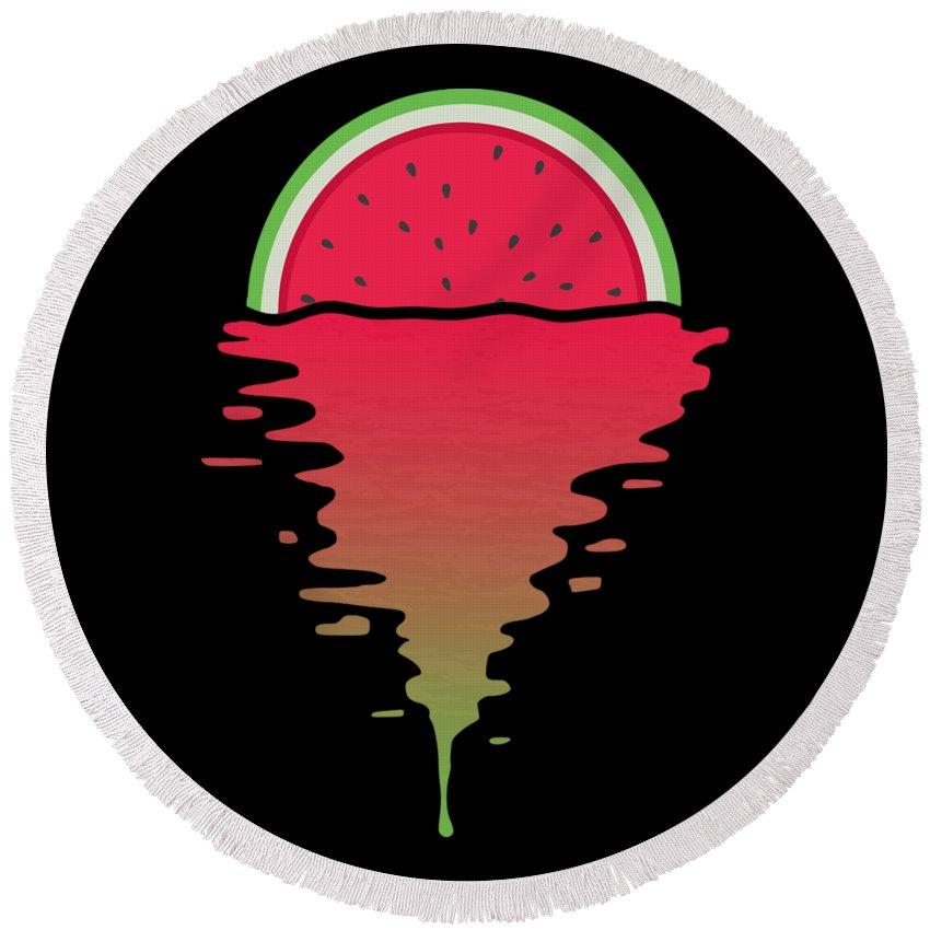 Watermelon Round Beach Towel featuring the digital art Watermelon Sunset by Filip Schpindel