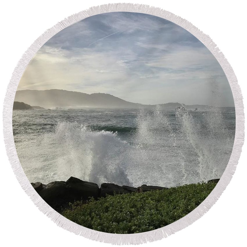 Pacific Ocean Waves White-water Spray Pebble Beach California Wind Sky Clouds Nature Hills Sea Landscape Vistas Round Beach Towel featuring the photograph Waves And Spray by Terry Huntingdon Tydings