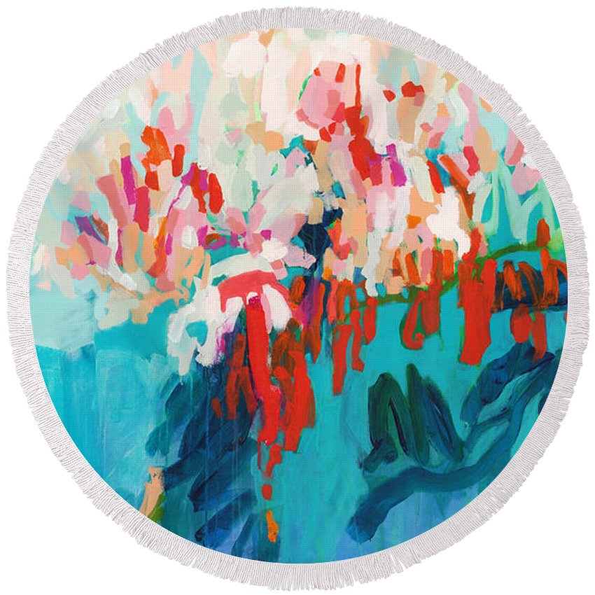 Abstract Round Beach Towel featuring the painting What Are Those Birds Saying? by Claire Desjardins