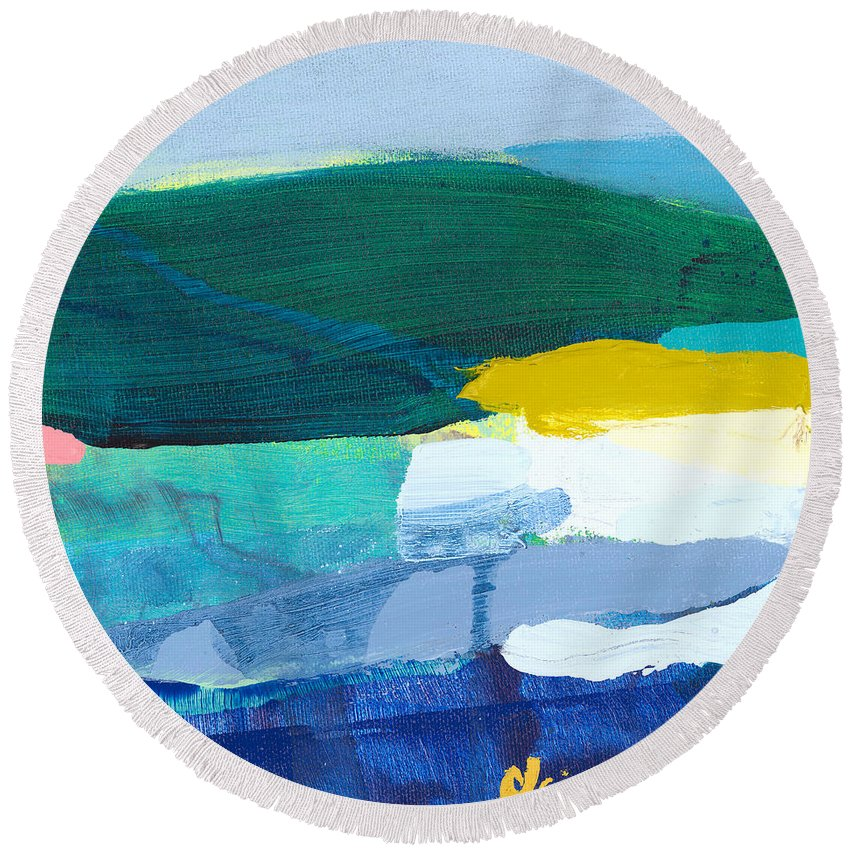 Abstract Round Beach Towel featuring the painting When Winter Melts Away by Claire Desjardins
