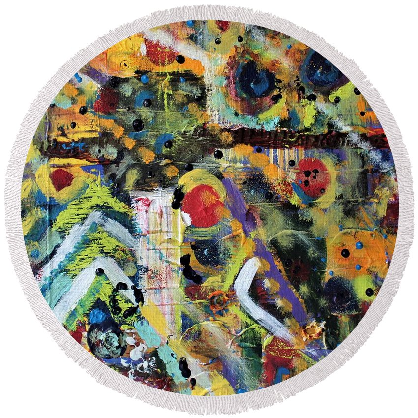 Nature Round Beach Towel featuring the painting Who What Where by Pam Roth O'Mara