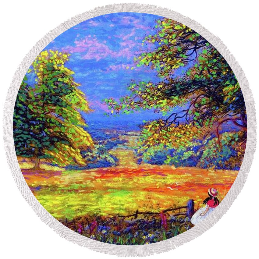Wildflower Round Beach Towel featuring the painting Wildflower Fields by Jane Small