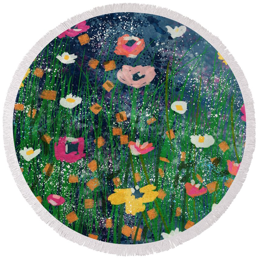 Flowers Round Beach Towel featuring the mixed media Wildflowers 2- Art By Linda Woods by Linda Woods