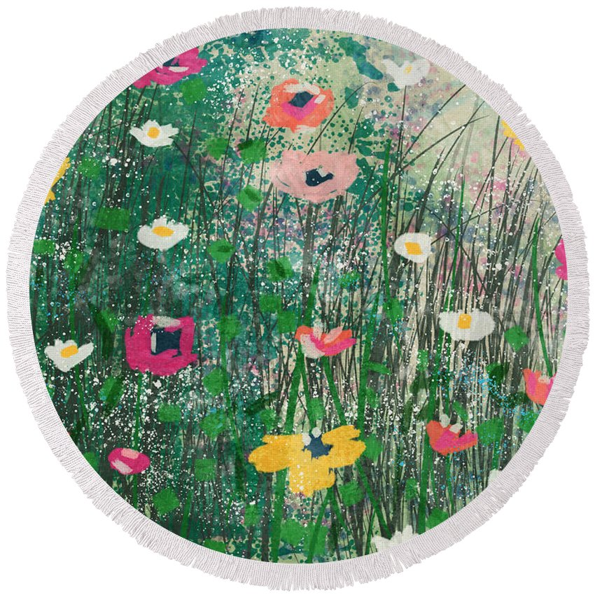 Wildflowers Round Beach Towel featuring the mixed media Wildflowers- Art By Linda Woods by Linda Woods