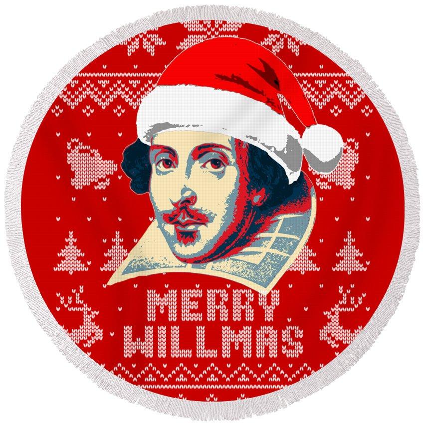 Santa Round Beach Towel featuring the digital art William Shakespeare Merry Willmas by Filip Hellman