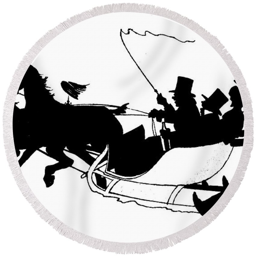 Landscape Round Beach Towel featuring the painting Winter Sleigh Scene Silhouette by English School