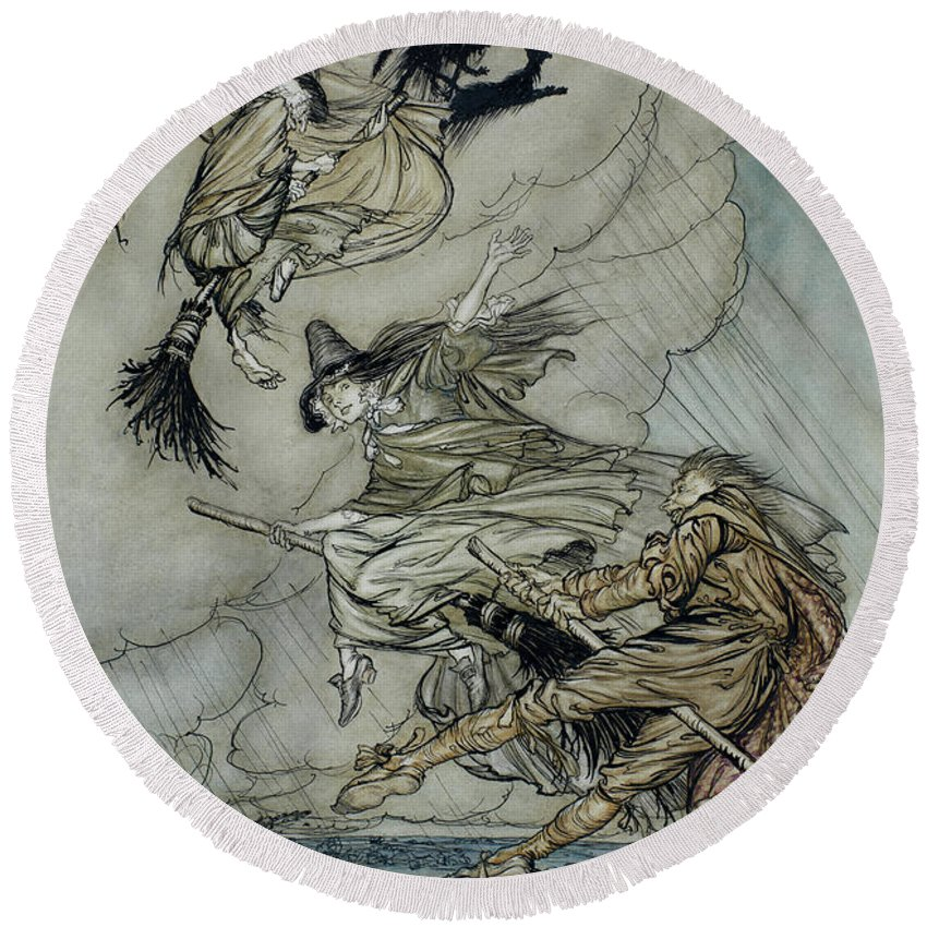 Arthur Rackham Round Beach Towel featuring the painting Witches, 1907 by Arthur Rackham