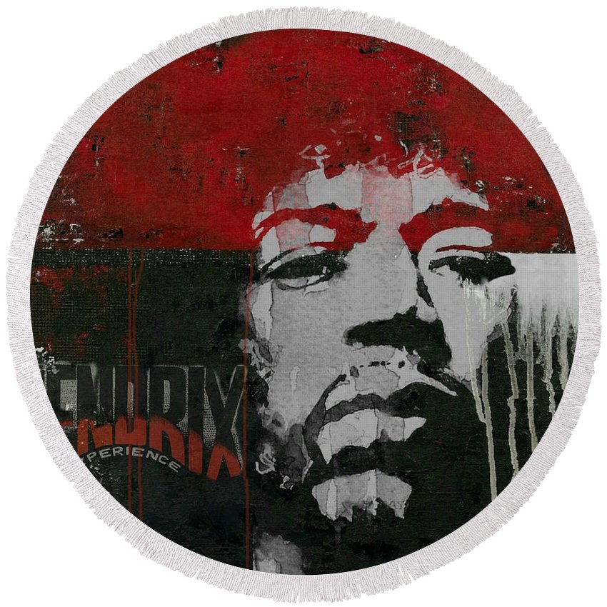 Jimi Hendrix Round Beach Towel featuring the mixed media With A Circus Mind That's Running Wild - Jimi Hendrex by Paul Lovering