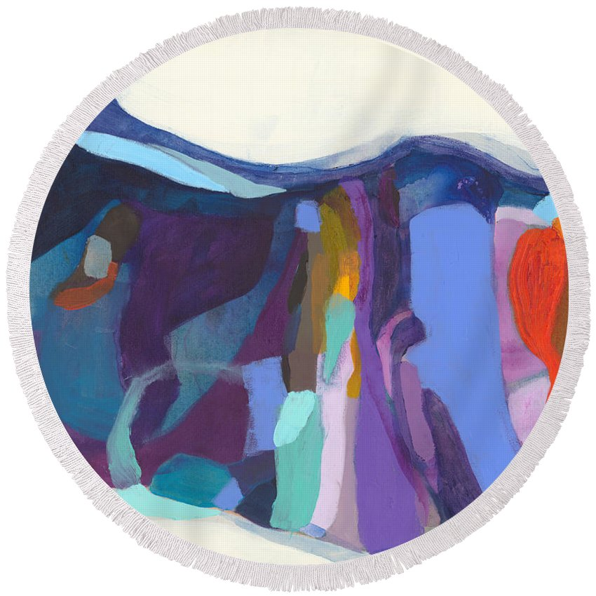 Abstract Round Beach Towel featuring the painting With Grace by Claire Desjardins