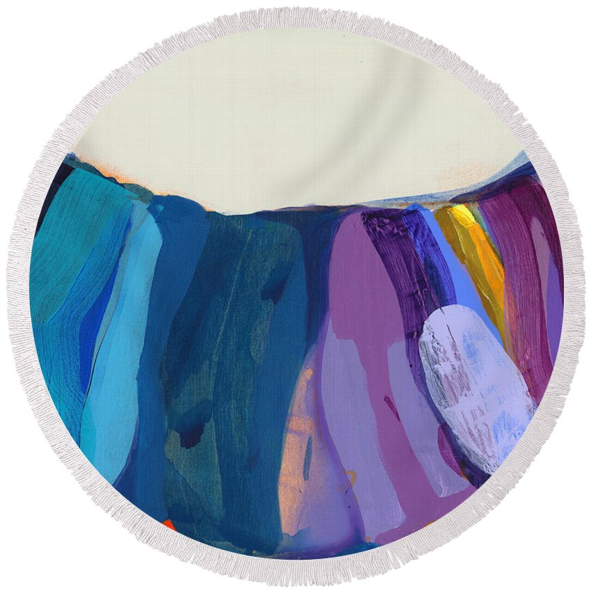 Abstract Round Beach Towel featuring the painting With Joy by Claire Desjardins