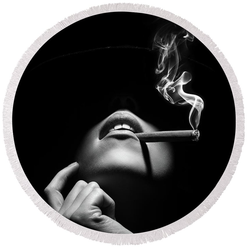 Woman Round Beach Towel featuring the photograph Woman smoking a cigar by Johan Swanepoel