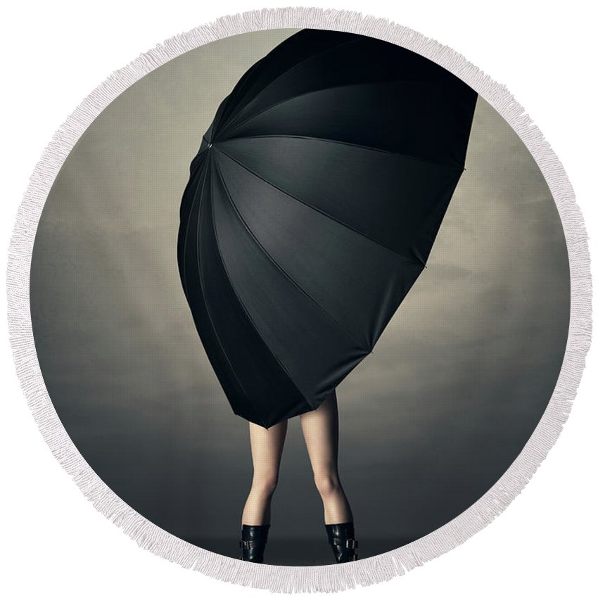 Woman Round Beach Towel featuring the photograph Woman With Huge Umbrella by Johan Swanepoel