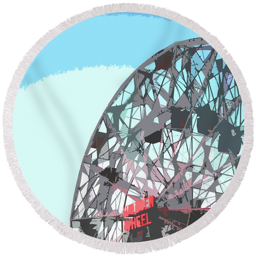 Wonder Wheel Round Beach Towel featuring the mixed media Wonder Wheel On Blue by NAJE Foto - Nelly Rodriguez