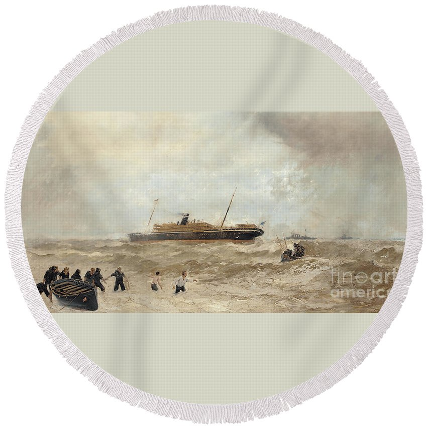 Sea Round Beach Towel featuring the painting Wreck Of The Delhi Off Cape Spartel, 13th January 1911, Landing Of The Princess Royal, 1912 by Algernon Yockney