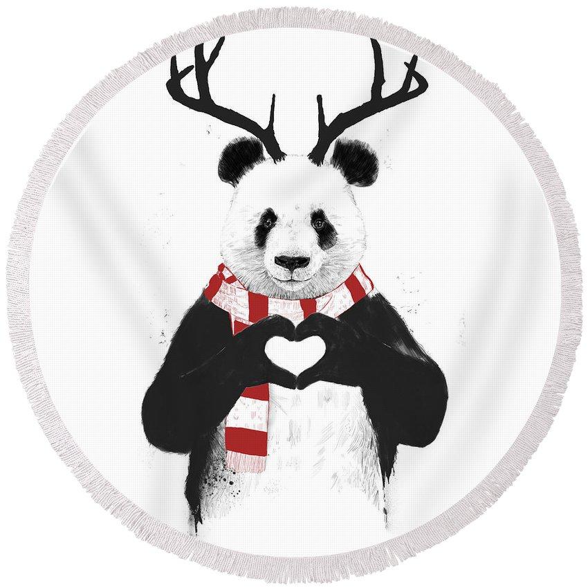 Panda Round Beach Towel featuring the drawing Xmas panda by Balazs Solti