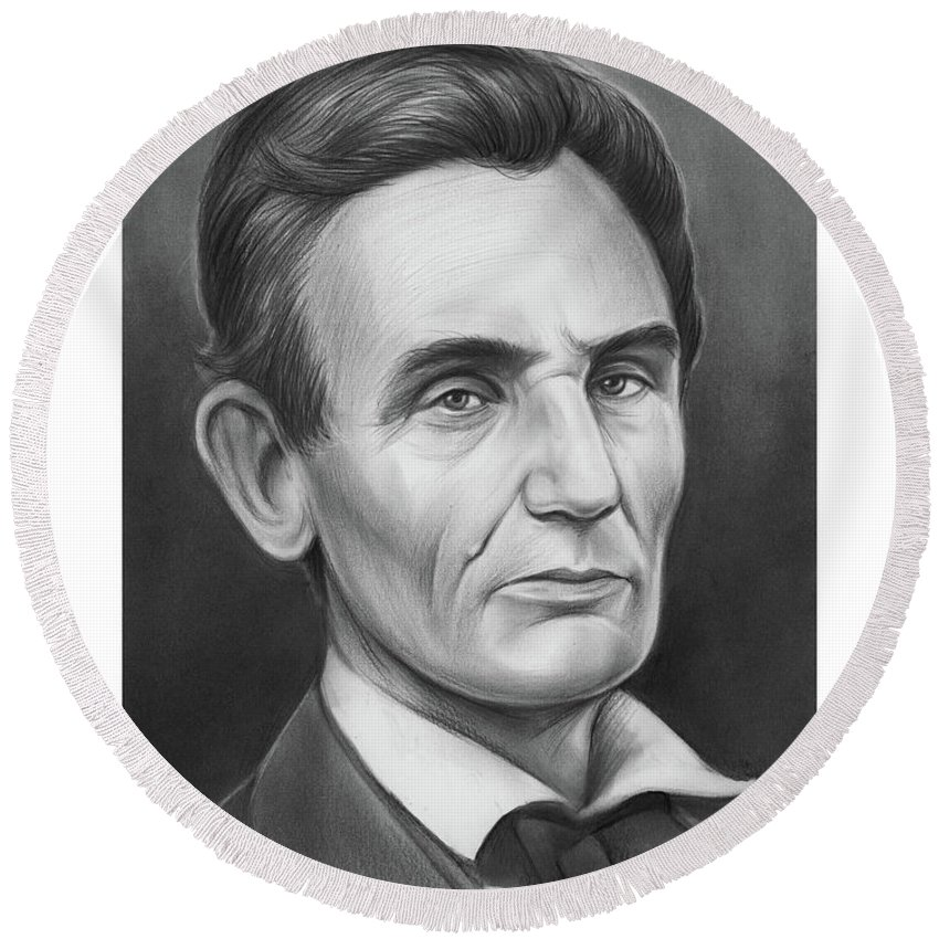 Abraham Lincoln Round Beach Towel featuring the drawing Young Lincoln Lawyer by Greg Joens