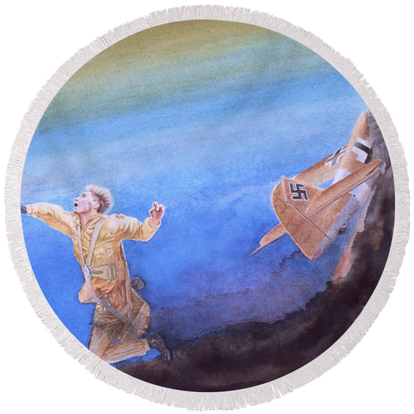 Sky Round Beach Towel featuring the painting Young Man's Finale by Oleg Konin