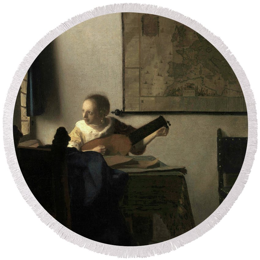 Jan Vermeer Round Beach Towel featuring the painting Young Woman With A Lute, 1663 by Jan Vermeer