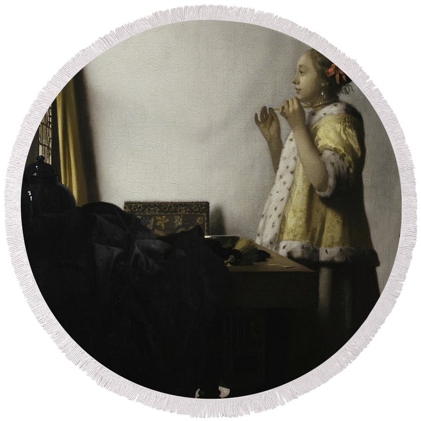 Johannes Vermeer Round Beach Towel featuring the painting Young Woman With A Pearl Necklace, 1662 by Johannes Vermeer