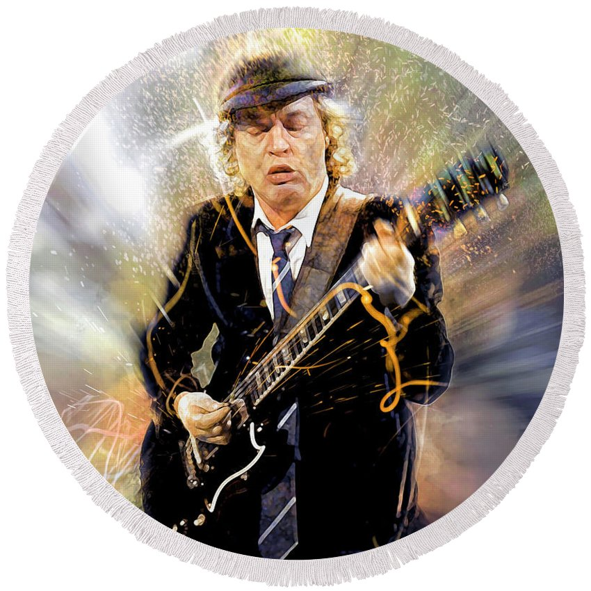 Angus Young Round Beach Towel featuring the digital art You've been thunderstruck by Mal Bray