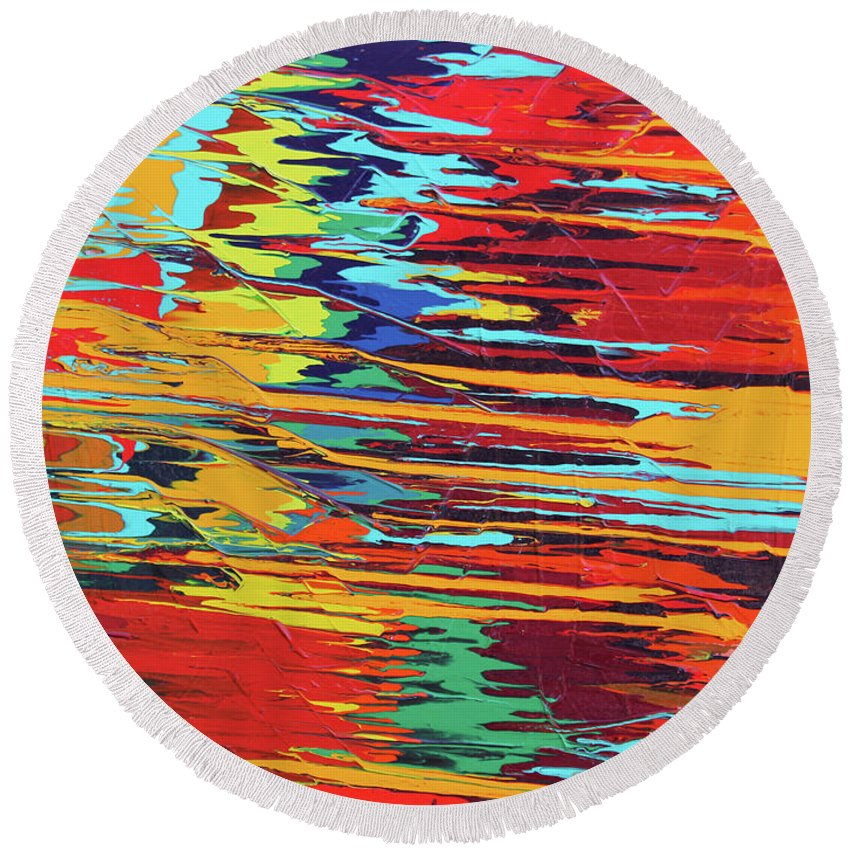 Fusionart Round Beach Towel featuring the painting Zap by Ralph White