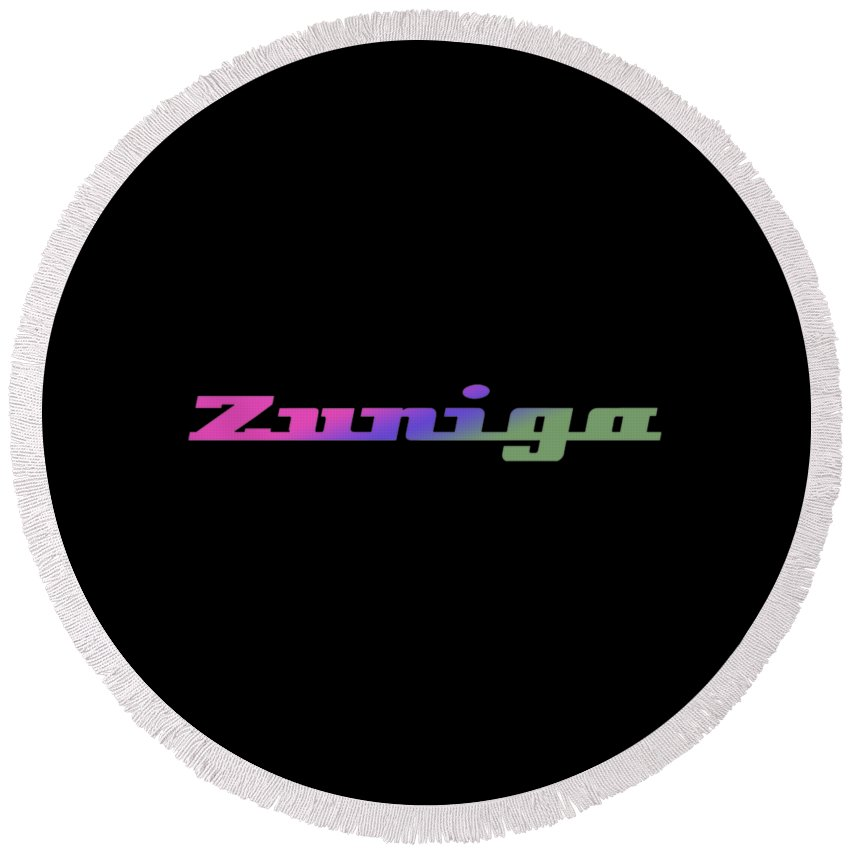 Zuniga Round Beach Towel featuring the digital art Zuniga #zuniga by TintoDesigns