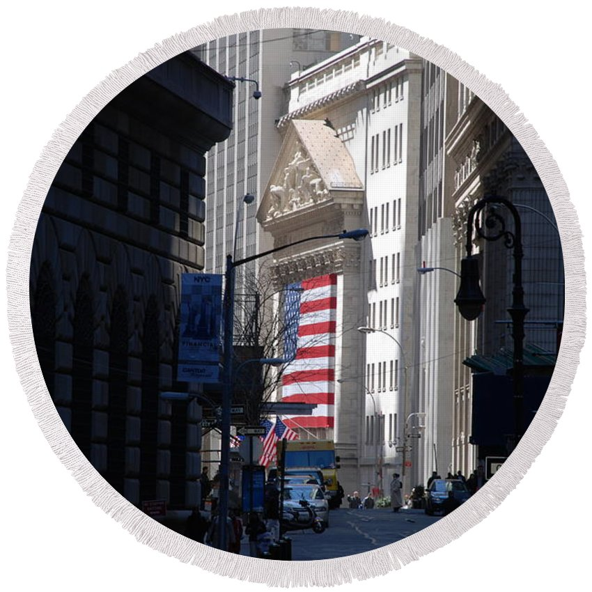 Wall Street Round Beach Towel featuring the photograph Rise And Fall Of America Avenue by Rob Hans