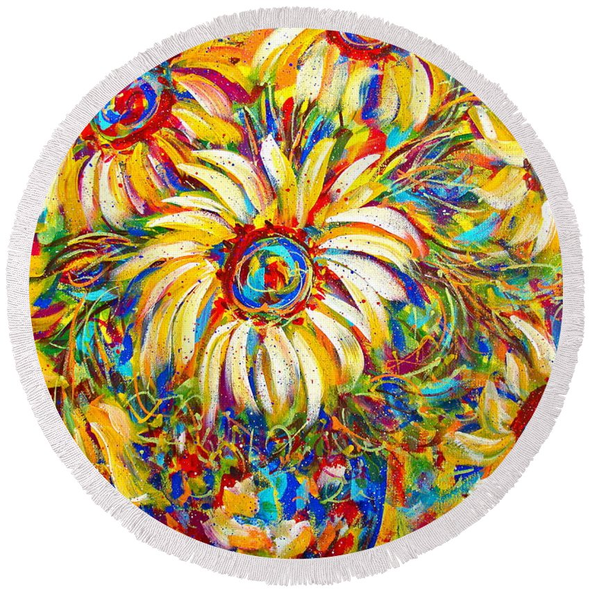 Flowers Round Beach Towel featuring the painting Sunflower Burst by Natalie Holland