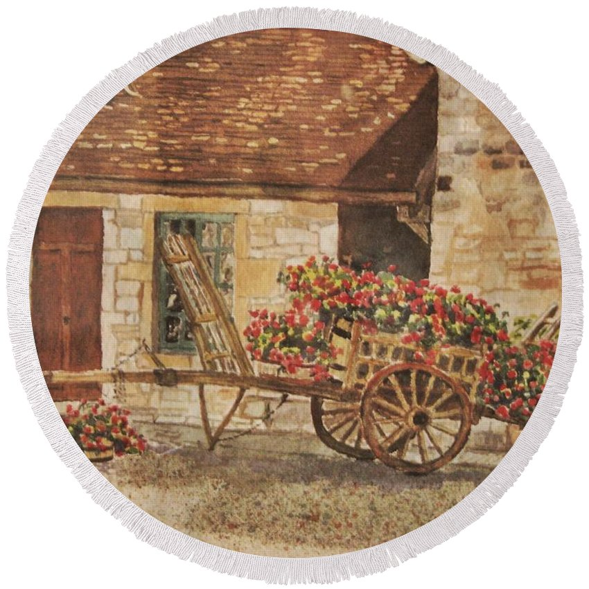 Rustic Round Beach Towel featuring the painting Vougeot French Vineyard by Mary Ellen Mueller Legault