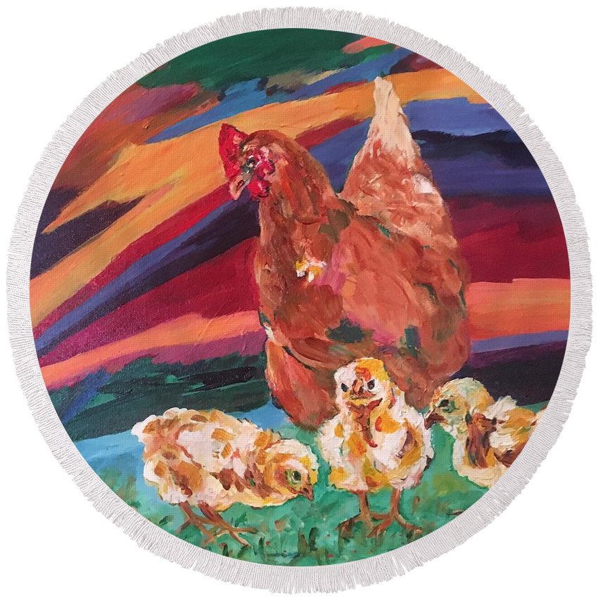 Chicks And Their Big Brown Mom Round Beach Towel featuring the painting Chicken Little by Naomi Gerrard