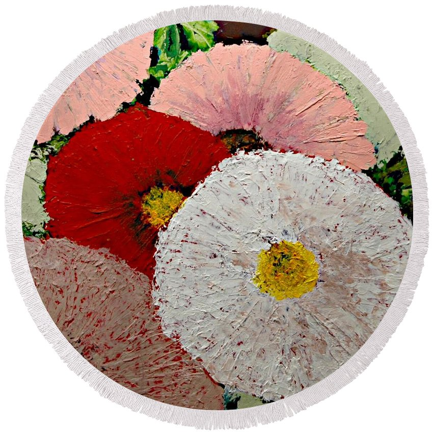 Landscape Round Beach Towel featuring the painting From the Garden by Allan P Friedlander