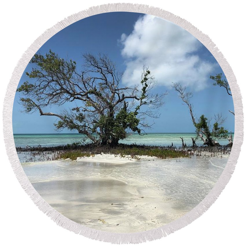 Key West Florida Waters Round Beach Towel featuring the photograph Key West Waters by Ashley Turner
