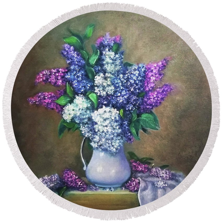 Lilac Round Beach Towel featuring the painting Lilac flowers by Natalja Picugina